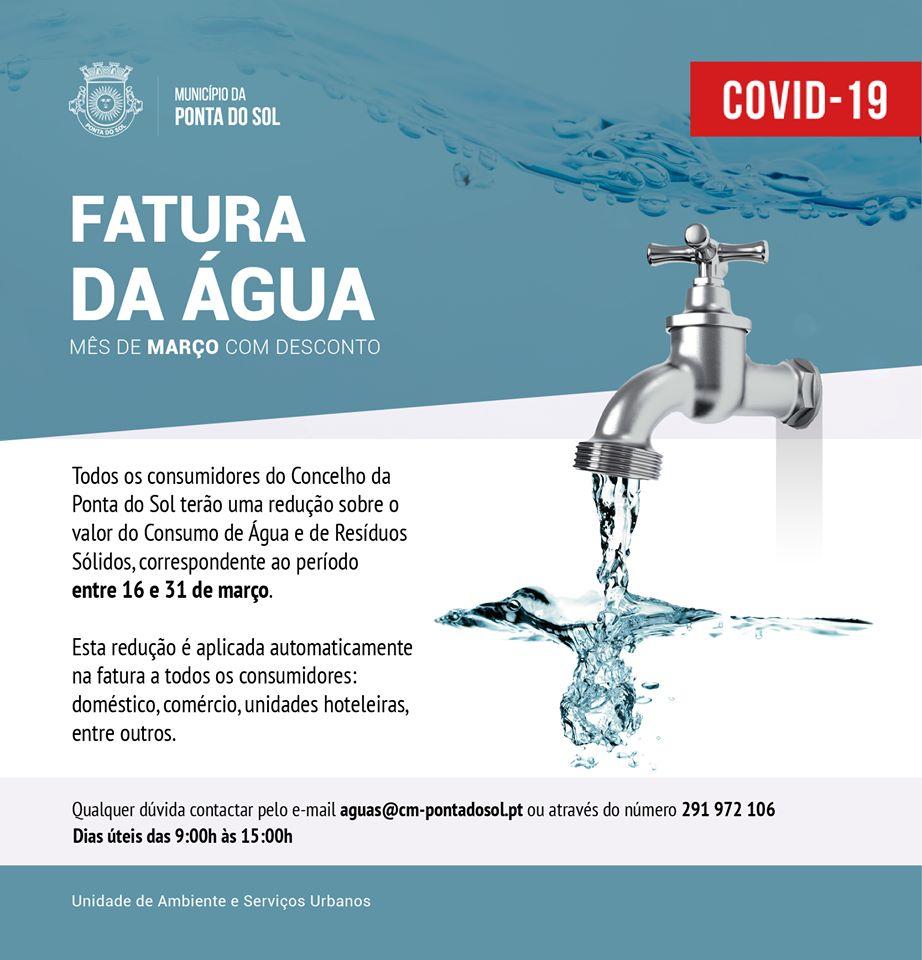 Redução no valor do consumo de água | mês de março