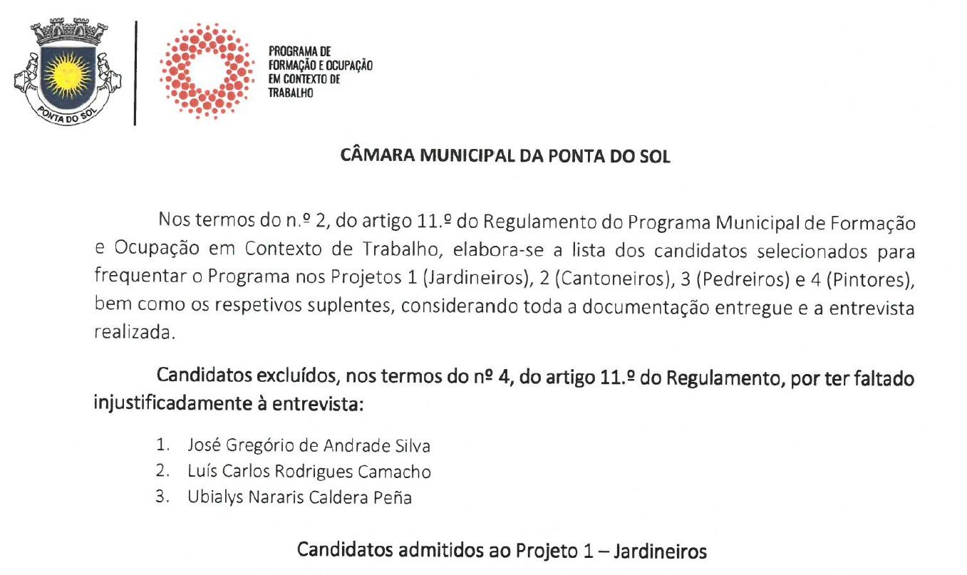 Projetos 1, 2, 3 e 4 | Programa de Formação e Ocupação em Contexto de Trabalho
