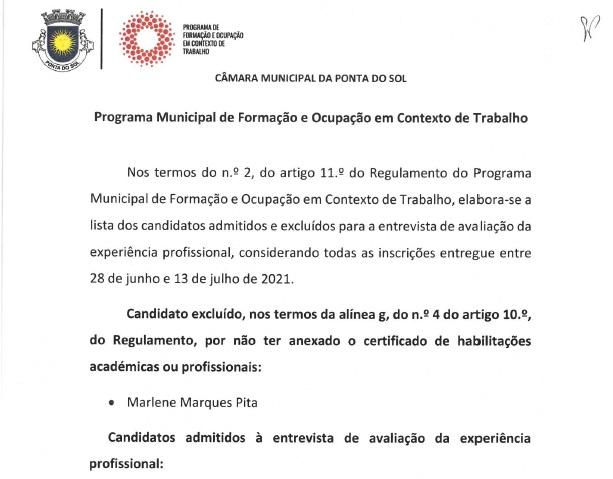 Lista de candidatos admitidos e excluídos programa municipal | projetos 5, 6, 7, 8 e 9