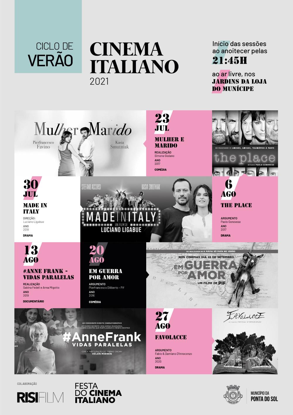 Cinema Italiano na Ponta do Sol entre os dias 23 de julho e 27 de agosto