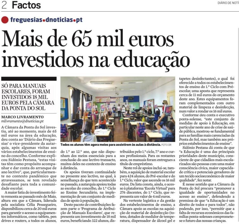 65 mil euros investidos na Educação da Ponta do Sol