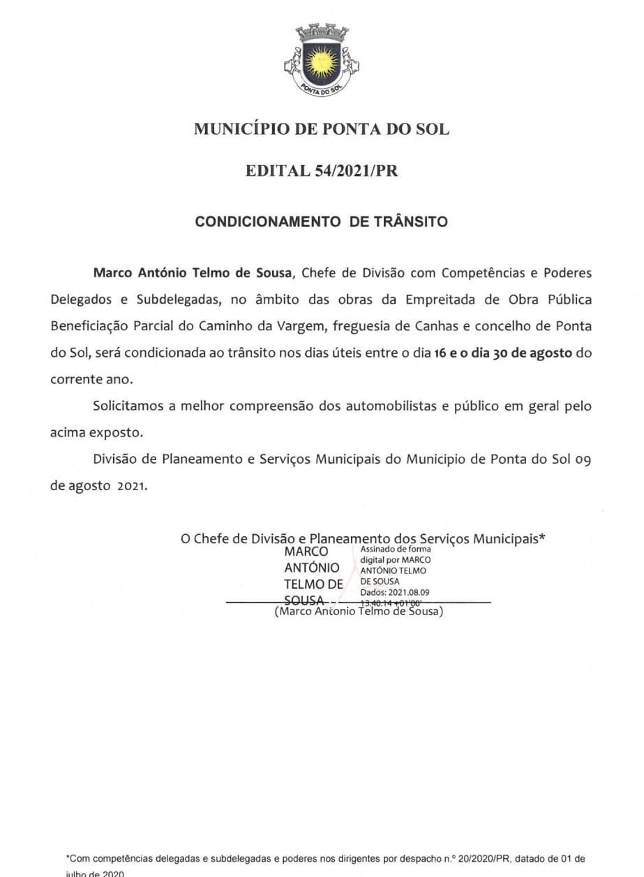 Informação: condicionamento de trânsito no Caminho da Vargem, Canhas