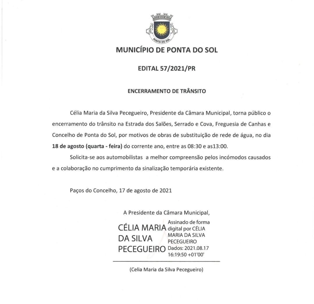 Informação: condicionamento de trânsito na Estrada dos Salões/Serrado e Cova