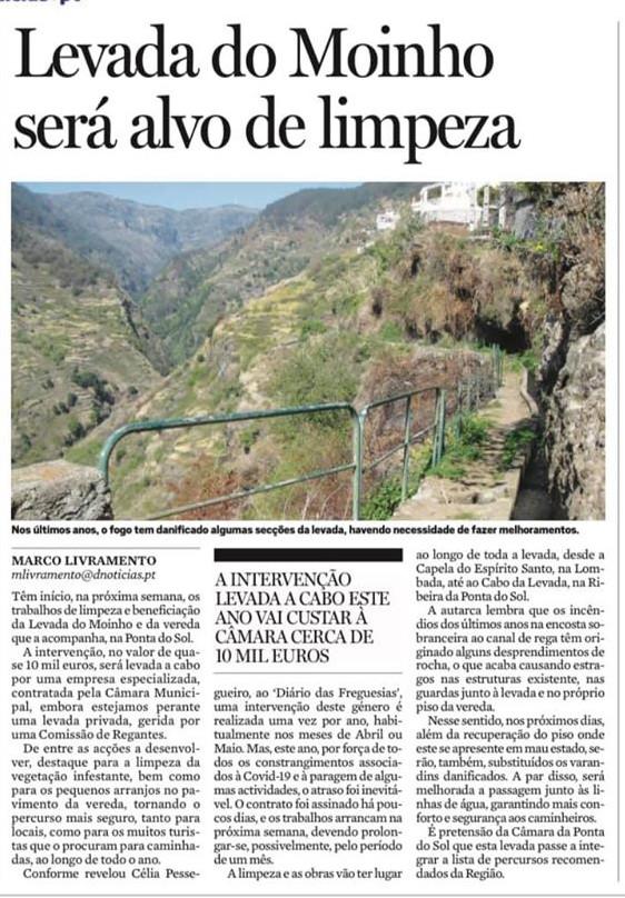 Câmara Municipal da Ponta do Sol investe na limpeza da Levada do Moinho