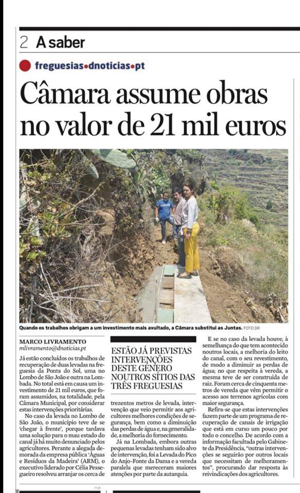Obras municipais em levadas e veredas da Ponta do Sol