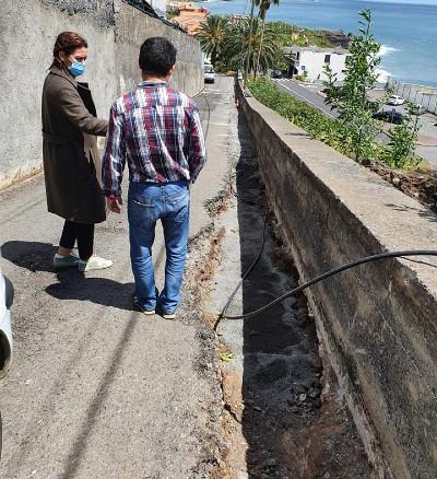 Reparações da linha de águas pluviais junto ao Tribunal Judicial da Ponta do Sol
