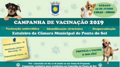 Campanha de Vacinação Antirrabática: 29 de junho no estaleiro municipal