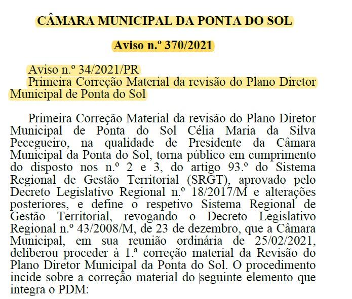 Primeira Correção Material da revisão do Plano Diretor Municipal de Ponta do Sol